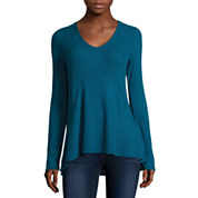 Miss Chevious Long-Sleeve High-Low Waffle Weave Top - Juniors