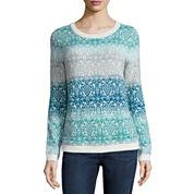 St. John's Bay® Long-Sleeve Fairisle Ombré Sweater