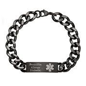 Personalized Mens Black IP Stainless Steel Medical ID Bracelet