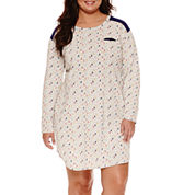 Sleep Chic Knit Long Sleeve Nightshirt-Plus