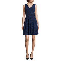 Reigns On Sleeveless Two-Tone Lace Skater Dress - Juniors