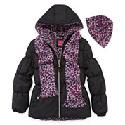 Pink Platinum Girls Heavyweight Puffer Jacket-Big Kid