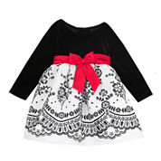 Rare Editions Long Sleeve Party Dress - Toddler