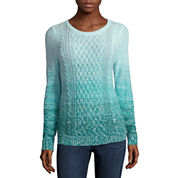 St. John's Bay® Long-Sleeve Ombré Cable-Knit Sweater