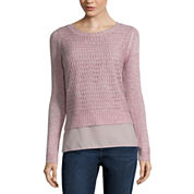St. John's Bay® Long-Sleeve Pointelle Layered Sweater