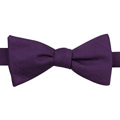 JF J. Ferrar® Solid Texture Stripe Pre-Tied Bow Tie