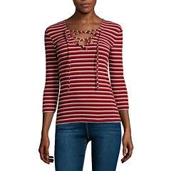 i jeans by Buffalo 3/4-Sleeve Lace-Up Rib Tee
