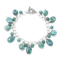Enhanced Turquoise Stone Sterling Silver Bracelet