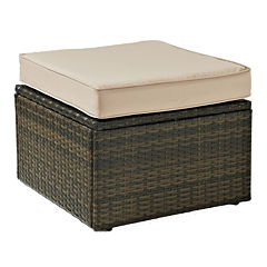 Palm Harbor Wicker Patio Ottoman With Cushions