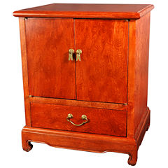 Oriental Furniture Burl Wood 1-Drawer End Table