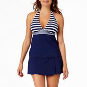 Liz Claiborne Stripe Tankini Swimsuit Top