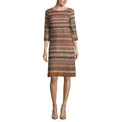 Studio 1® 3/4-Sleeve Crochet Shift Dress