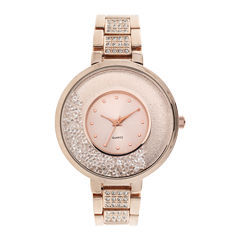 Womens Crystal-Accent Glitz Rose-Tone Bracelet Watch
