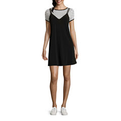 City Triangle Short Sleeve A-Line Dress-Juniors
