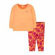 Nike® Light Peach Logo Tunic Set - Baby Girls newborn-24m