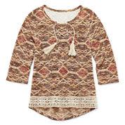 Beautees Long-Sleeve Boho-Print High-Low Tassel Top - Girls 7-16