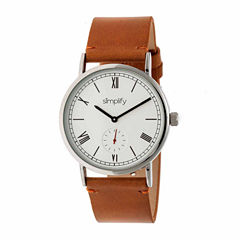 Simplify Mens Brown Strap Watch-Sim5105