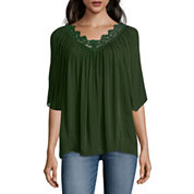a.n.a® 3/4-Sleeve Embroidered-Neck Boho Top