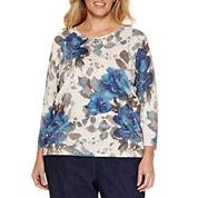 Alfred Dunner® Crescent City 3/4 Sleeve Shimmer Floral Sweater, Denim Pant Plus