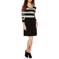 Studio 1 3/4 Sleeve Rugby Stripe Sweater Dress