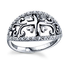 Inspired Moments Womens Lab Created White Cubic Zirconia Band