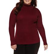 Ohmg Long Sleeve Turtleneck Pullover Sweater - Juniors Plus