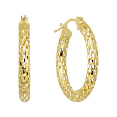 Infinite Gold™ 14K Yellow Gold Mesh Hoop Earrings