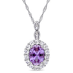 Womens Diamond Accent Purple Alexandrite 14K Gold Pendant Necklace