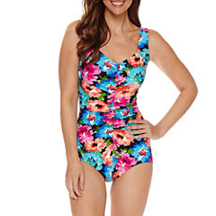 Azul by Maxine of Hollywood Floral Girl Leg One Piece Swimsuit
