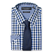 GRAHAM & CO. 2 COLOR GINGHAM DRESS SHIRT AND TIE
