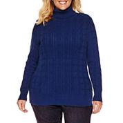St. John`s Bay Long Sleeve Turtleneck Knit Pullover Sweater-Plus
