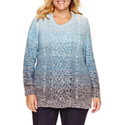 St. John`s Bay Crew Neck Long Sleeve Layered Sweaters Plus