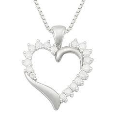 ½ CT. T.W. Diamond 10K White Gold Heart Pendant Necklace