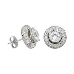 100 Facets by DiamonArt® Cubic Zirconia Halo Stud Earrings