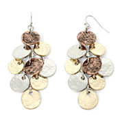 Bold Elements™ Tri-Tone Hammered Disc Shaky Chandelier Earrings