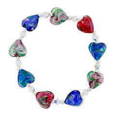 Dazzling Designs™ Red & Blue Glass Heart Bead Bracelet