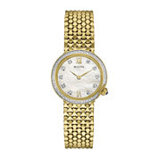 Bulova® Diamonds Womens Diamond-Accent Gold-Tone Stainless Steel Mesh Watch 98R218