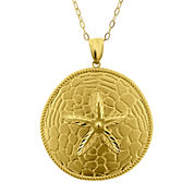 10K Yellow Gold Textured Sand Dollar Pendant Necklace
