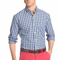IZOD Long-Sleeve Strech Plaid Button-Front Shirt