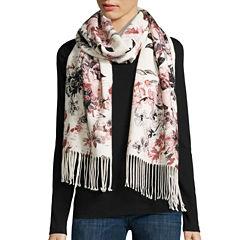 Liz Claiborne® Floral-Print Fringe Scarf