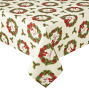 Arlee Holiday Wreath Sparkle Tablecloth