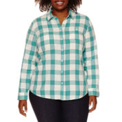 St. John's Bay Relaxed Fit Long Sleeve Button-Front Shirt-Plus