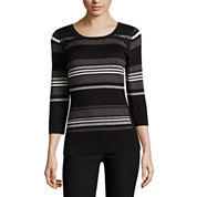 by&by Long Sleeve Scoop Neck Pullover Sweater-Juniors