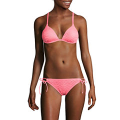 Arizona Mix & Match Coral Molded Cup Pushup Swim Top or Side-Tie Hipster Swim Bottoms - Juniors