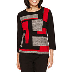 Alfred Dunner 3/4 Sleeve Crew Neck Pullover Sweater-Petites
