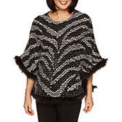 Alfred Dunner Wrap It Up Crew Neck Poncho