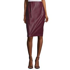 BELLE + SKY Pleather Pencil Skirt