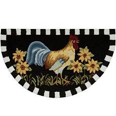 Nourison® Black Rooster Hand-Hooked Wedge Rug