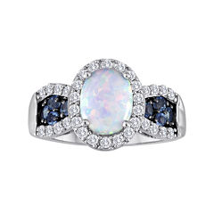 Lab-Created Opal, Genuine Blue Topaz and Lab-Created White Sapphire Ring