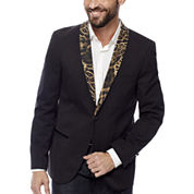WD-NY® Black Leopard Shawl Collar Tuxedo Jacket - Slim Fit
